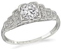 Art Deco 0.45ct Diamond Engagement Ring
