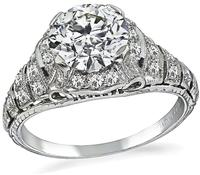 GIA Certified 1.21ct Diamond Art Deco Engagement Ring