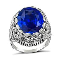 Art Deco 11.00ct Sapphire Diamond Engagement Ring
