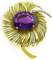 Vintage 30.00ct Amethyst Gold Flower Pin
