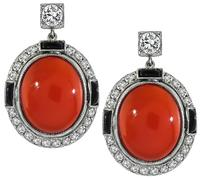 Vintage Coral 0.80ct Diamond Onyx Earrings