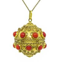 Estate Coral Gold Charm / Pendant