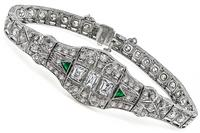 Vintage 5.70ct Diamond Emerald Bracelet