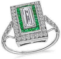 Art Deco 0.60ct Diamond Emerald Ring