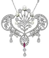 Edwardian 3.90ct Diamond Pearl Ruby Pendant Necklace
