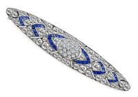 Art Deco 4.40ct Diamond 1.00ct Sapphire Pin