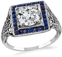 Art Deco 1.00ct Diamond Sapphire Engagement Ring