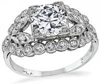 GIA Certified 1.06ct Diamond Art Deco Engagement Ring