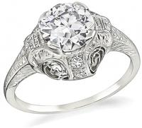 Art Deco GIA Certified 1.18ct Diamond Engagement Ring