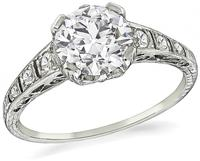 Art Deco GIA Certified 1.32ct Diamond Engagement Ring