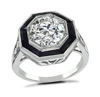 Estate GIA Certified 1.90ct Diamond Onyx Engagement Ring
