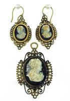 Victorian Pearl Onyx Cameo Pendant/Pin and Earrings Set
