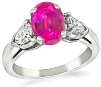 Estate GAL Certified 1.61ct Pink Sapphire 0.70ct Diamond Engagement Ring