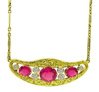 Vintage 5.09ct Rubellite 0.84ct Diamond Necklace