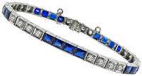 Art Deco 2.00ct Diamond Synthetic Sapphire Bracelet