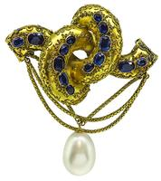 Victorian 6.00ct Sapphire Pearl Gold Pin