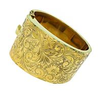 Vintage Hand Carved Gold Cuff Bangle