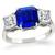 2.65ct Sapphire 1.37ct  Diamond Platinum Anniversary  Ring