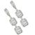 Estate 3.22ct Baguette & Round Cut Diamonds 18k White Gold Dangling Earrings