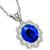 Estate 4.00ct Oval Cut Sapphire 1.50ct Sparkling Round Cut Diamond 14k White Gold Pendant And Chain Necklace