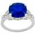 Art Deco Style 4.06ct Cushion Cut Sapphire 0.45ct Round And Marquise Cut Diamond Platinum Engagement Ring