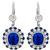 Art Deco Style 4.54ct Cushion Center And 0.76ct Faceted Sapphire 1.04ct Round Cut Diamond 18k White Gold Drop Earrings