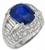 5.36ct ceylon sapphire 2.40ct diamond gold ring photo 1