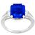 Estate 4.08ct Royal Blue Emerald Cut Ceylon Sapphire 0.80ct Trapezoid And Elongated Baguette Cut Diamond Platinum Engagement Ring