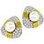 Estate TRIO 5.00ct Round Brilliant Diamond Pearl 18k Yellow And White Gold Earrings