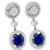 Art Deco Style 3.94ct Oval Cut Sapphire 2.26ct Round Brilliant Diamond 18k White Gold Drop Earrings