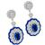 Art Deco Style 5.21ct Oval Cut Center And French Faceted Sapphire 2.70ct Round Cut Diamond 18k White Gold Drop Earrings