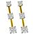 Estate 1.40ct Round Brilliant Diamond 14k White And Yellow Gold Line Earrings