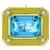 Estate 25.00ct  Emerald Cut Aquamarine 0.50ct Round Cut Diamond 18k Yellow Gold Pin/Pendant