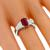 Estate 2.15ct Rectangular Cut Burmese Ruby 0.83ct Trapezoid Cut Diamond Platinum Engagement Ring