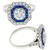 Art Deco Style GIA Certified 0.96ct Round Brilliant Diamond Faceted Cut Sapphire  18k White Gold Engagement Ring