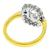 Estate GIA Certified 1.19ct Criss Cut Diamond Sapphire  18k Yellow And White Gold Engagement Ring