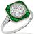 Estate Art Deco Style 2.28ct Old European Brilliant Diamond  Emerald 18k White Gold Engagement Ring