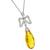 Estate 8.63ct Pear Shape Citrine  0.45ct Round Cut Diamond 18k White Gold Pendant
