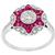 Art Deco Style 0.59ct Round Brilliant Diamond Faceted Cut Ruby 18k White Gold Engagement Ring