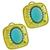 Estate Esther Gallant Cabochon Turquoise Round Cut Diamond  14k Yellow Gold Earrings