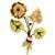 Ruby Diamond 2 Tone Gold Flower Pin | Israel Rose