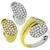 Estate 2.40ct Round Cut Diamond Piebald 18k Yellow & White Gold Ring and Earrings Set