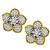 Estate 10.00ct Round Brilliant Diamond 18k Yellow And White Gold Flower Earrings