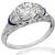 Art Deco GIA 1.17ct Diamond Sapphire Engagement Ring