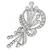 Estate 1950s  6.00ct Round And Baguette Brilliant Diamond 18k White Gold Floral Pin