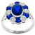 Estate 2.96ct Oval Cut Sapphire 0.73ct Faceted Sapphire 0.79ct Round Cut Diamond 18k White Gold Ring