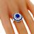 Art Deco Style 1.32ct Oval Cut Sapphire 0.86ct French Faceted Cut Sapphire 0.88ct Round Cut Diamond 18k White Gold Ring
