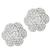 Estate 0.90ct Center 2.64ct Side Round Cut Diamonds 18k White Gold Floral Earrings