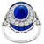 Estate 1.96ct Oval Cut Sapphire 0.62ct Faceted Sapphire 0.83ct Round Cut Diamond 18k White Gold Ring