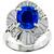 Estate 2.41ct Oval Cut Sapphire 1.18ct Round And Baguette Cut Diamond  Platinum Ring